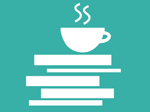 Vignet af bøger og en kop kaffe