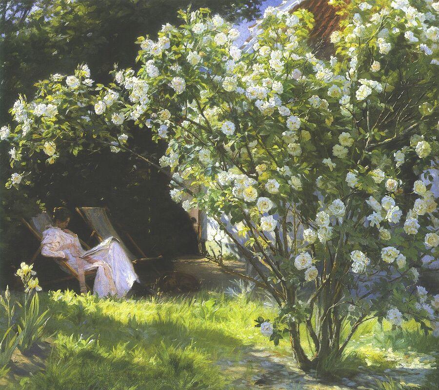 Maleri af idyl med roser